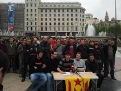 La roda de premsa ha tingut lloc al bell mig de Plaça Catalunya