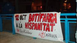 Pancarta d'Arran del Baix Ebre en contra del Dia de la Hispanitat
