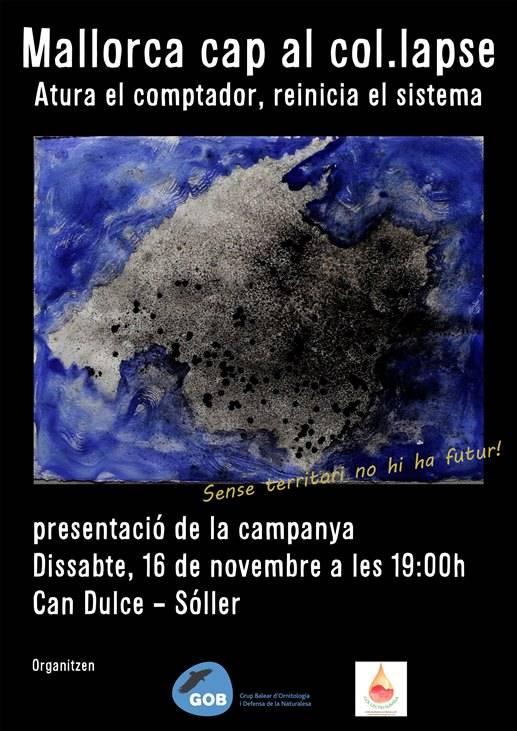Presentació de la campanya «Mallorca cap al col•lapse. Atura el comptador, reinicia el sistema» (Sóller, 16-11-13)