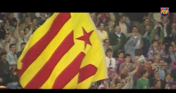 Camp Nou full of independence flags whistles UEFA anthem