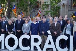 Prop d'un miler de catalans acompanyen Corominas i Barrufet al TSJC