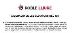 Poble Lliure: Valoració de les eleccions del 10N