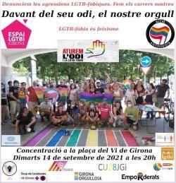 Concentració contra les agressions LGTBI-fóbiques a Girona